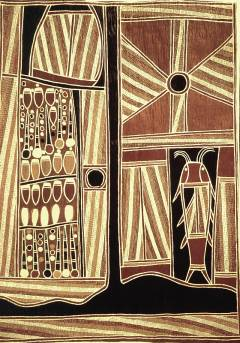 Larger image in new window. Fig. 3: David Malangi, Sacred Sites of Milmindjarr, 1982, ochre pigments on bark, 107 x 79 cm, printed in: Sutton, Peter (ed.): Dreamings. The Art of Aboriginal Australia, Penguin Books Australia, Ringwood 1988, exh. cat., p. 52