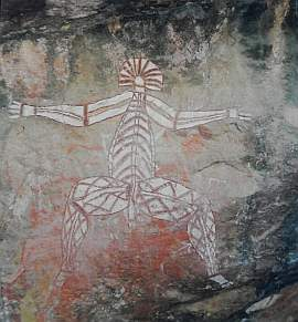 Larger image in new window: The oldest artistic creations of mankind, up to 30,000 or 40,000 years old, are rock paintings and rock etchings in Australia, yet their symbols (e.g. the concentric circles) can still be found in some of today's paintings.