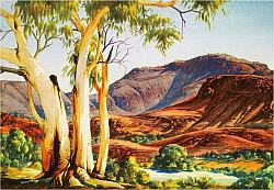 Larger image in new window:  Albert Namatjira, In the Ranges, Mount Hermannsburg, c. 1950, water colour and coloured pencil on paper, printed in: Benjamin, Roger and Weislogel, Andrew C. (eds.): Icon of the Desert: Early Aboriginal Paintings from Papunya, Herbert F. Johnson Museum of Art, Cornell University, New York 2009, p. 29