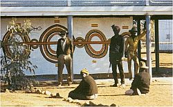 Larger image in new window: Papunya School Wall, June-August 1971, printed in: Bardon, Geoffrey and Bardon, James: Papunya. A Place Made After the Story. The Beginnings of the Western Desert Painting Movement, Melbourne 2004, p. 17