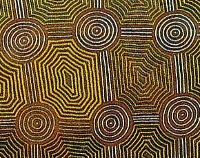Larger image in new window. (Detail)  Tingari Tjukurrpa at Karrkurritinytja, by Simon Tjakamarra,  1986, synthetic polymer paint on canvas, 214 x 274 cm, printed in: Art Gallery of Western Australia (ed.): Indigenous Art - Art Gallery of Western Australia, Perth 2001, p. 37