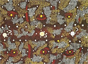 Larger image in new window. Fig. 6: Tim Leura Tjapaltjarri, Sun, Moon and Morning Star Tjukurrpa, 1973, synthetic polymer paint on wood, 45 x 58 cm, printed in Bardon, Geoffrey: Papunya Tula. Art of the Western Desert, McPhee Gribble, Melbourne 1991, p. 121
