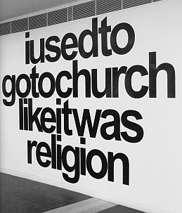 "Plate 11: Vernon Ah Kee (*1967), ""likeitwasreligion,"" 2007, vinyl on wall (installed at Campbelltown Arts Centre, Sydney);                 printed in: Institute of Modern Art (ed.). Vernon Ah Kee: Born                 In This Skin, Brisbane 2009, p. 51"